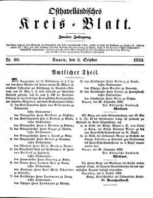 Osthavelländisches Kreisblatt vom 05.10.1850