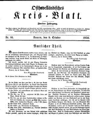 Osthavelländisches Kreisblatt on Oct 9, 1850