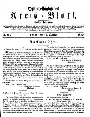 Osthavelländisches Kreisblatt vom 16.10.1850