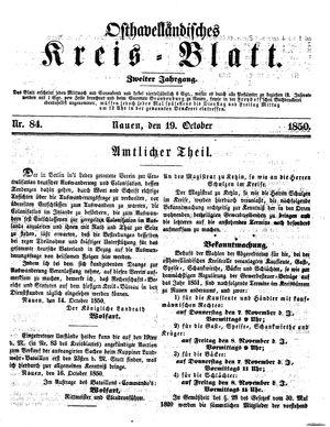 Osthavelländisches Kreisblatt vom 19.10.1850