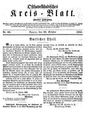 Osthavelländisches Kreisblatt vom 26.10.1850