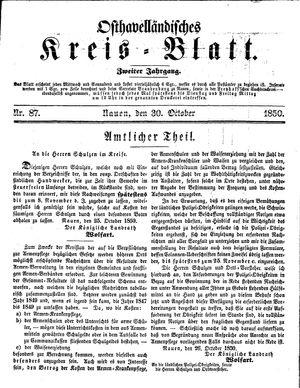 Osthavelländisches Kreisblatt vom 30.10.1850