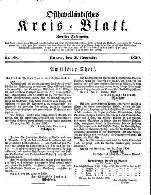 Osthavelländisches Kreisblatt vom 02.11.1850