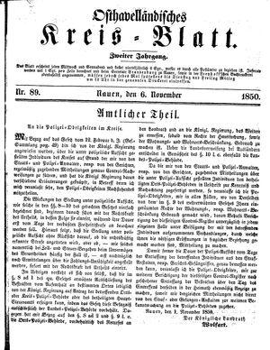 Osthavelländisches Kreisblatt vom 06.11.1850