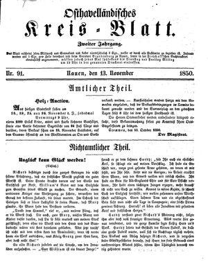 Osthavelländisches Kreisblatt vom 13.11.1850