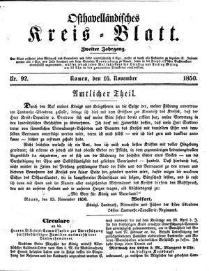Osthavelländisches Kreisblatt vom 16.11.1850