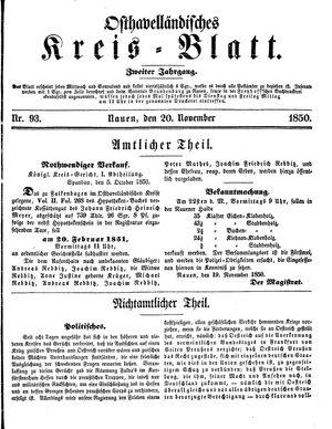 Osthavelländisches Kreisblatt vom 20.11.1850