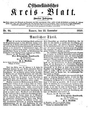 Osthavelländisches Kreisblatt vom 23.11.1850