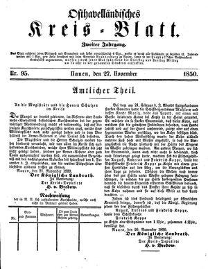Osthavelländisches Kreisblatt on Nov 27, 1850