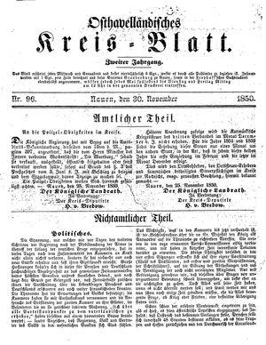 Osthavelländisches Kreisblatt vom 30.11.1850