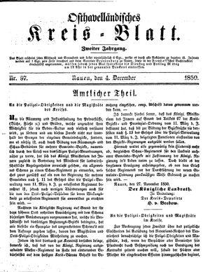 Osthavelländisches Kreisblatt vom 04.12.1850