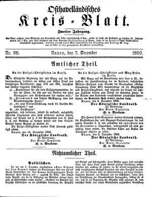Osthavelländisches Kreisblatt vom 07.12.1850