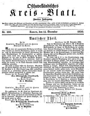 Osthavelländisches Kreisblatt vom 14.12.1850