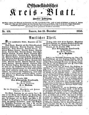 Osthavelländisches Kreisblatt vom 18.12.1850