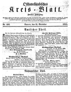 Osthavelländisches Kreisblatt vom 21.12.1850