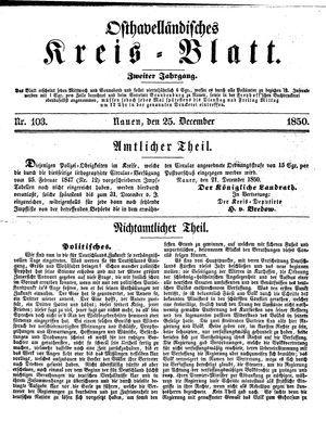 Osthavelländisches Kreisblatt on Dec 25, 1850