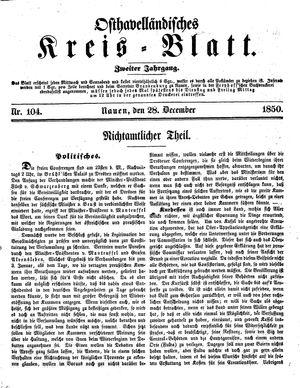 Osthavelländisches Kreisblatt vom 28.12.1850