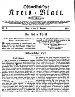 Osthavelländisches Kreisblatt vom 04.01.1851