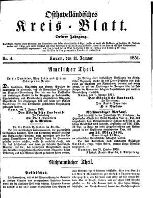 Osthavelländisches Kreisblatt vom 11.01.1851