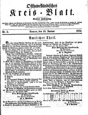 Osthavelländisches Kreisblatt vom 15.01.1851
