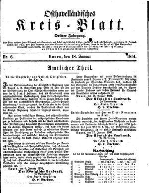 Osthavelländisches Kreisblatt vom 18.01.1851