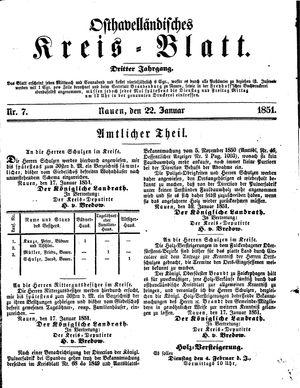 Osthavelländisches Kreisblatt vom 22.01.1851