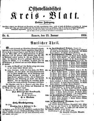 Osthavelländisches Kreisblatt vom 25.01.1851