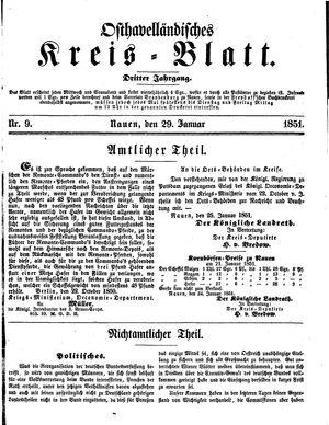 Osthavelländisches Kreisblatt vom 29.01.1851
