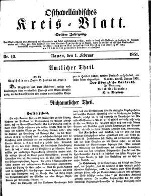 Osthavelländisches Kreisblatt vom 01.02.1851