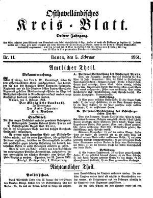 Osthavelländisches Kreisblatt vom 05.02.1851