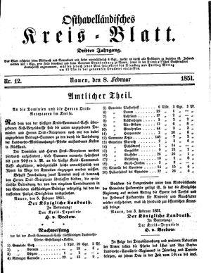 Osthavelländisches Kreisblatt vom 08.02.1851