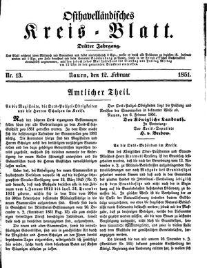 Osthavelländisches Kreisblatt vom 12.02.1851