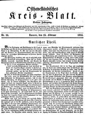 Osthavelländisches Kreisblatt vom 15.02.1851