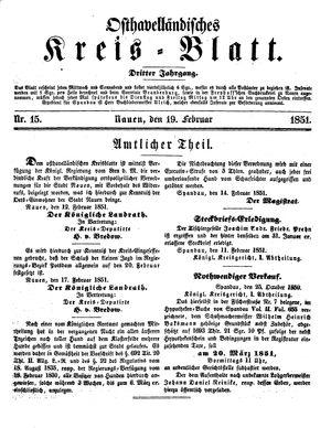 Osthavelländisches Kreisblatt vom 19.02.1851