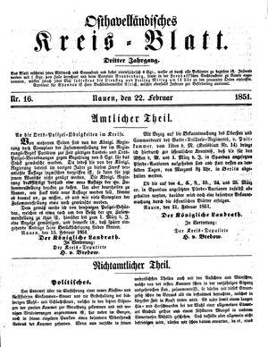 Osthavelländisches Kreisblatt vom 22.02.1851