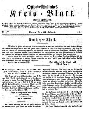Osthavelländisches Kreisblatt vom 26.02.1851