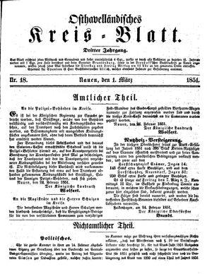 Osthavelländisches Kreisblatt vom 01.03.1851