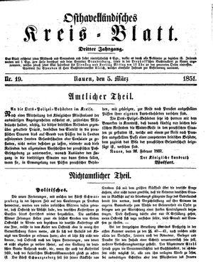 Osthavelländisches Kreisblatt vom 05.03.1851