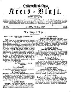 Osthavelländisches Kreisblatt vom 12.03.1851