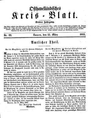 Osthavelländisches Kreisblatt vom 15.03.1851