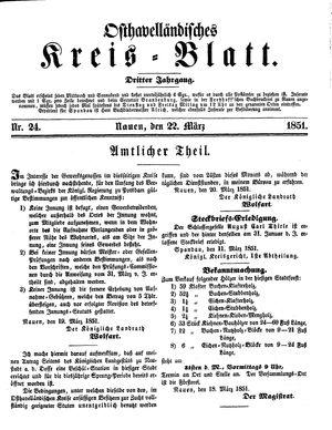 Osthavelländisches Kreisblatt on Mar 22, 1851