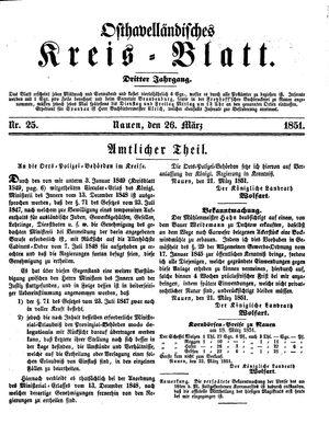 Osthavelländisches Kreisblatt vom 26.03.1851