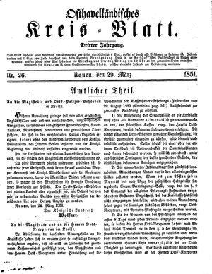 Osthavelländisches Kreisblatt vom 29.03.1851