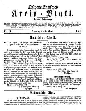 Osthavelländisches Kreisblatt vom 02.04.1851