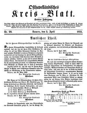 Osthavelländisches Kreisblatt vom 05.04.1851