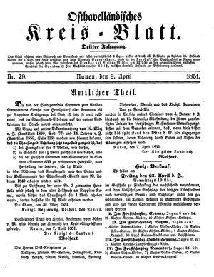 Osthavelländisches Kreisblatt vom 09.04.1851