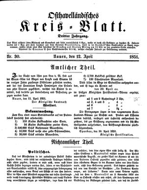 Osthavelländisches Kreisblatt vom 12.04.1851