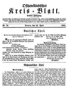 Osthavelländisches Kreisblatt on Apr 16, 1851