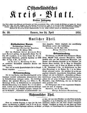 Osthavelländisches Kreisblatt vom 24.04.1851