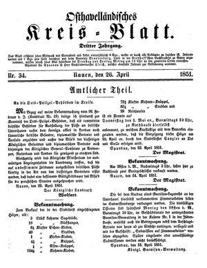 Osthavelländisches Kreisblatt vom 26.04.1851